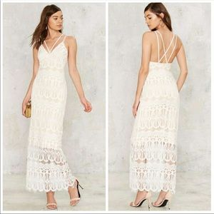 Lioness white Lace strappy Maxi Lined boho Dress M